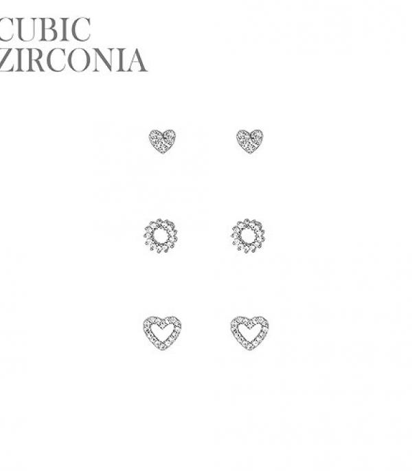 New Arrival :: Wholesale CZ Mini Heart Set Stud Earrings