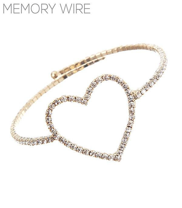 New Arrival :: Wholesale Rhinestone Heart Memory Wire Bracelet