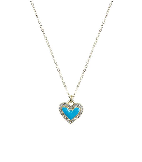 New Arrival :: Wholesale Rhinestone Heart Frame Pendant Necklace