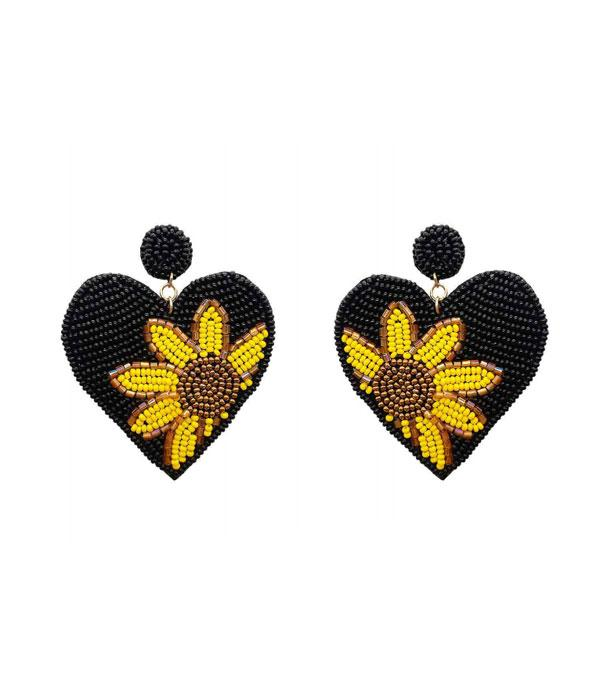 New Arrival :: Wholesale Seed Bead Sunflower Heart Earrings