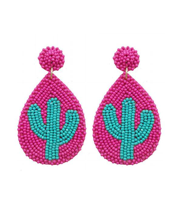New Arrival :: Wholesale Seed Bead Cactus Teardrop Earrings
