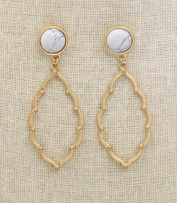 New Arrival :: Wholesale Trendy Stone Dangle Earrings