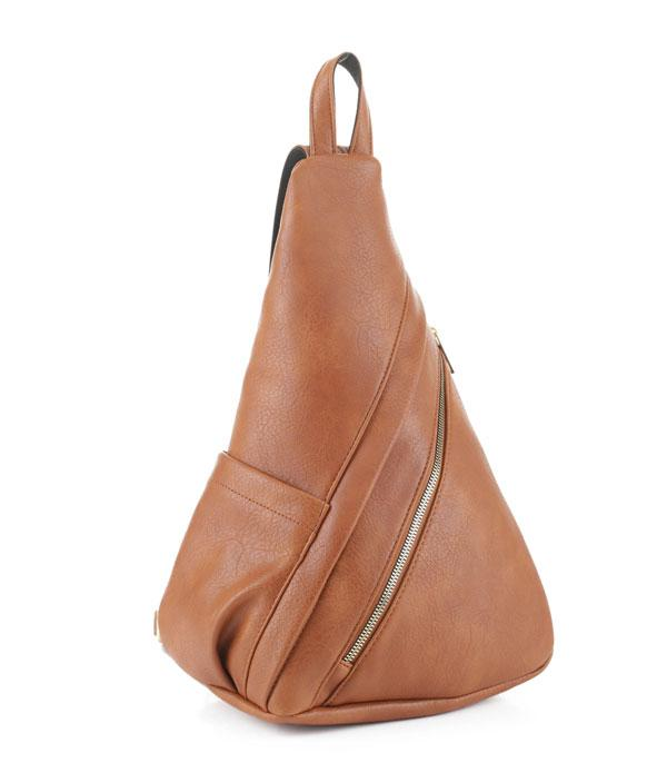 New Arrival :: Wholesale Soft Faux Leather Sling Bag Backpack