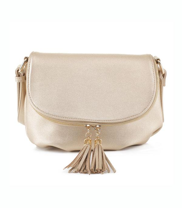 New Arrival :: Wholesale Soft Faux Leather Tassel Crossbody Bag