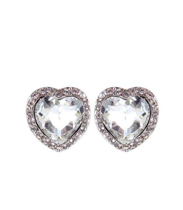New Arrival :: Wholesale Heart Rhinestone Post Earrings