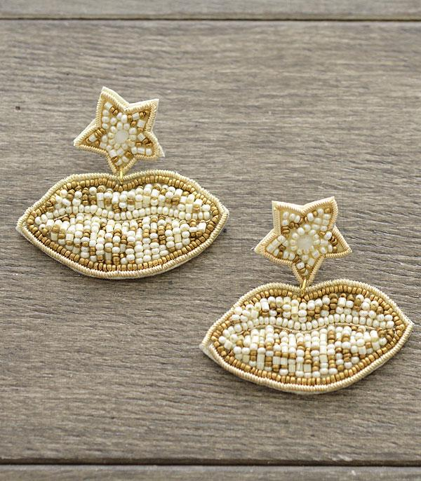 New Arrival :: Wholesale Seed Bead Lips Earrings