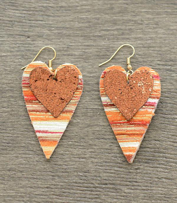 New Arrival :: Wholesale Glitter Double Heart Dangle Earrings