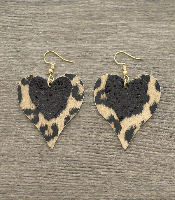 New Arrival :: Wholesale Glitter Leopard Heart Dangle Earrings