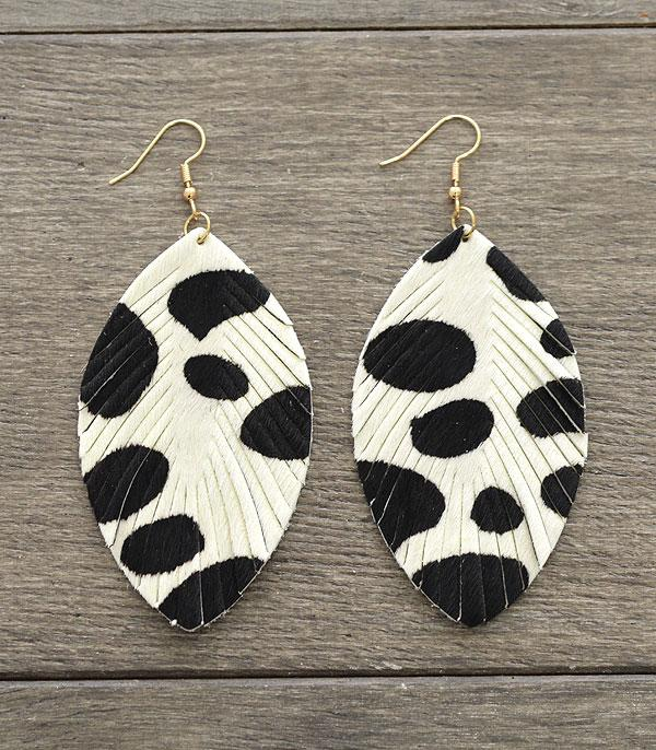 New Arrival :: Wholesale Genuine Leather Cow Print Earrings