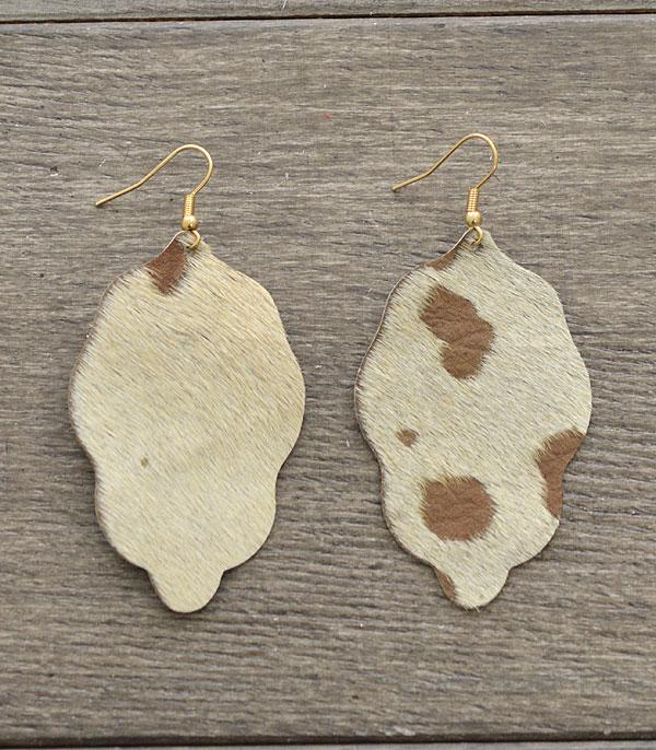 New Arrival :: Wholesale Genuine Leather Cowhide Print Earrings
