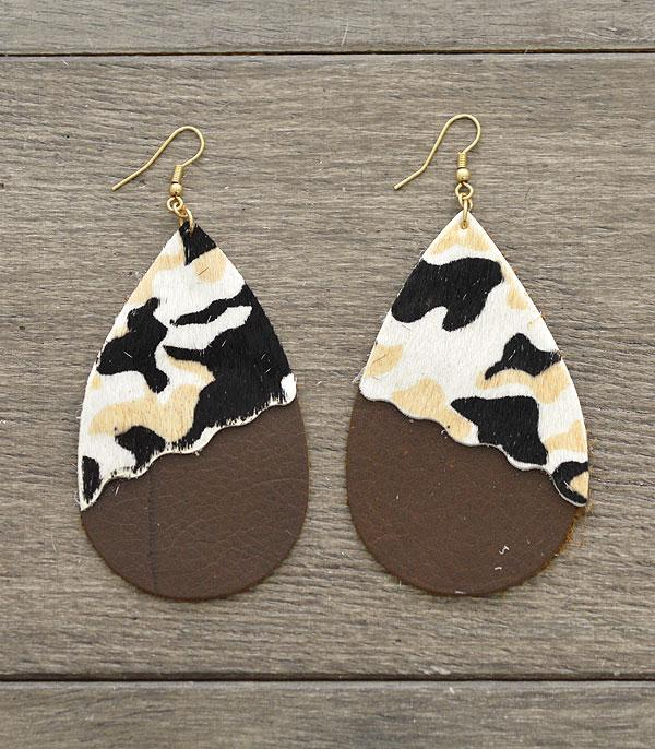 New Arrival :: Wholesale Genuine Leather Camo Teardrop Earrings