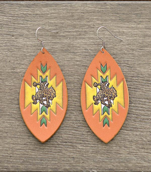 New Arrival :: Wholesale Genuine Leather Aztec Rodeo Earrings