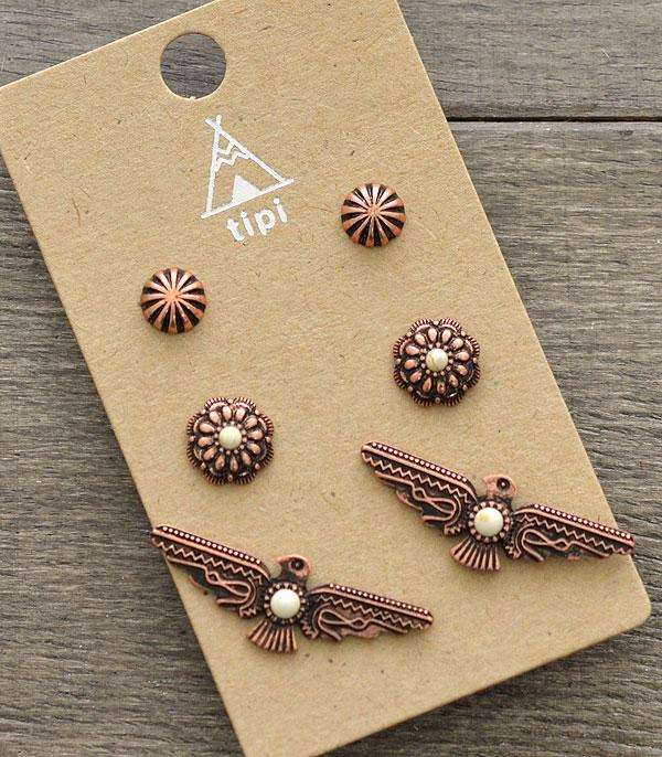 New Arrival :: Wholesale Tipi 3PC Set Thunderbird Earrings