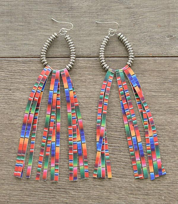 New Arrival :: Wholesale Serape Teardrop Metal Tassel Earrings