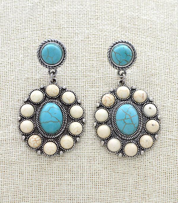 New Arrival :: Wholesale Tipi Western Turquoise Dangle Earrings