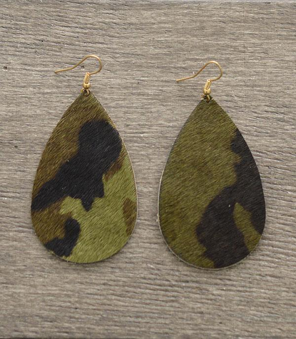 New Arrival :: Wholesale Genuine Leather Teadrop Camo Earrings