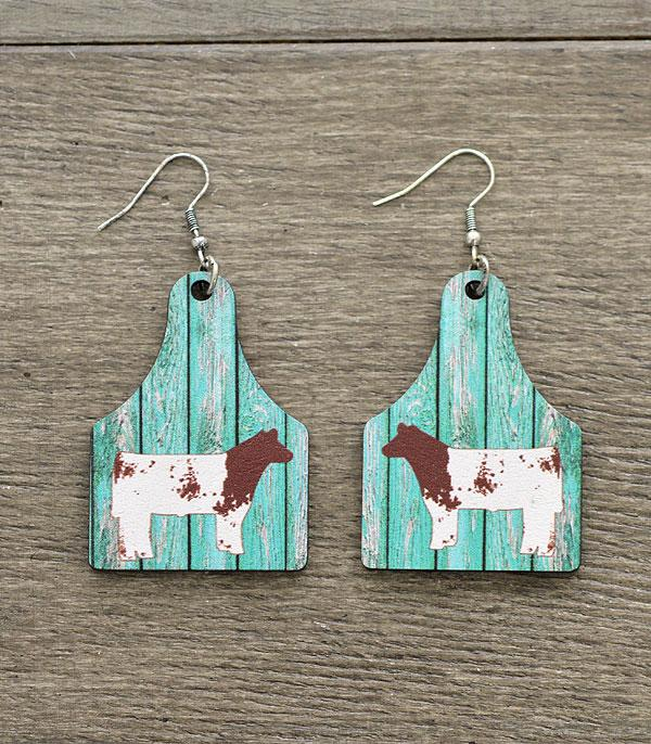 New Arrival :: Wholesale Tipi Cow Tag Wood Dangle Earrings