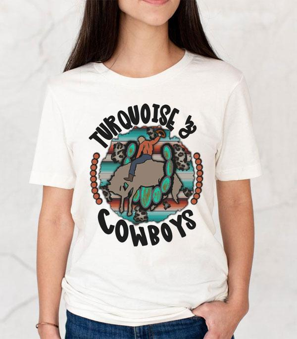 New Arrival :: Wholesale Turquoise Cowboys Western Graphic Tshirt