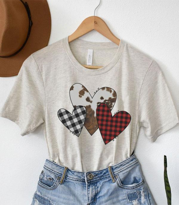 New Arrival :: Wholesale Cowhide Plaid Heart Graphic Tshirt