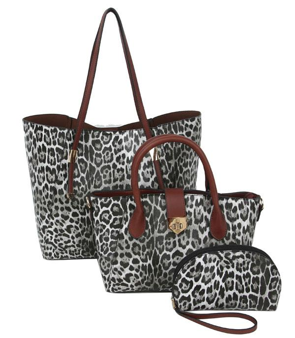 New Arrival :: Wholesale 3 In 1 Leopard Print Tote Set Bag