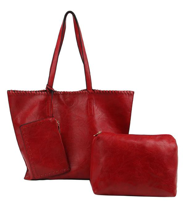 New Arrival :: Wholesale 3 In 1 Vegan Leather Everyday Tote Bag