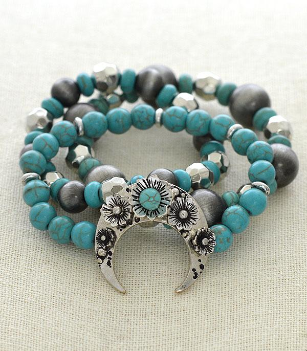 New Arrival :: Wholesale Turquoise Western Stacked Bracelet