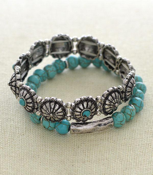 <font color=Turquoise>TURQUOISE JEWELRY</font> :: Wholesale Western Concho Turquoise Bracelet Set