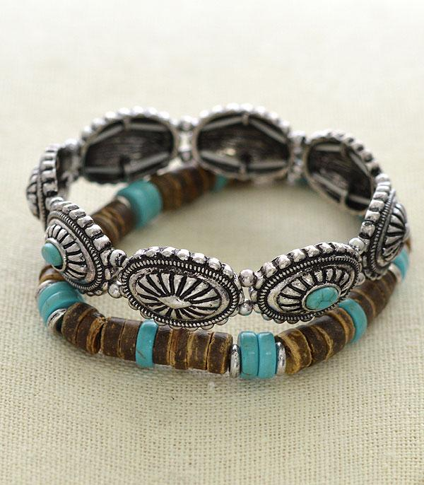 <font color=Turquoise>TURQUOISE JEWELRY</font> :: Wholesale Western Turquoise Concho Bracelet Set