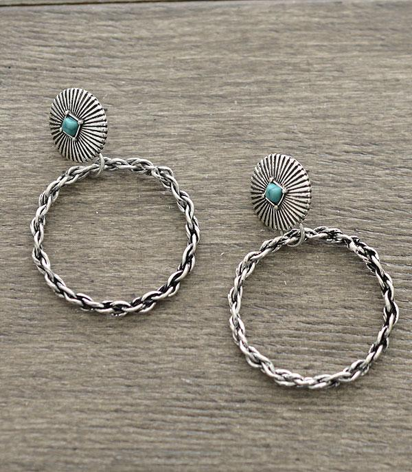 New Arrival :: Wholesale Western Turquoise Hoop Earrings