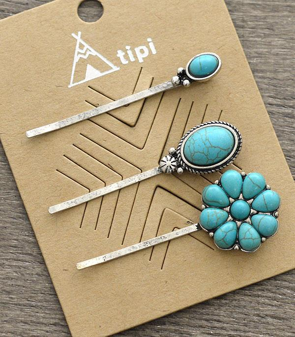 New Arrival :: Wholesale Tipi 3PC Set Turquoise Bobby Pin