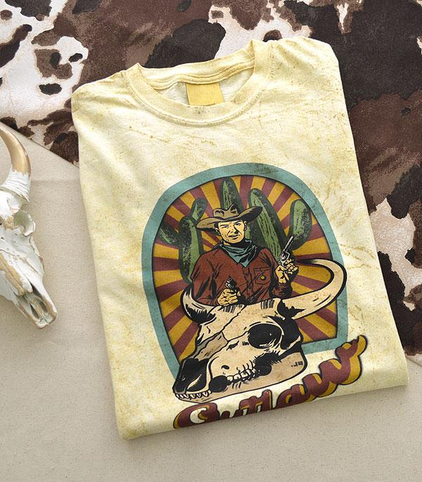 New Arrival :: Wholesale Tie Dye Western Outlaw Graphic Tshirt