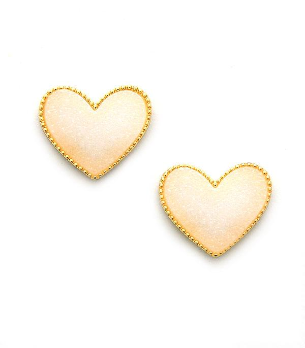 New Arrival :: Wholesale Druzy Heart Post Earrings