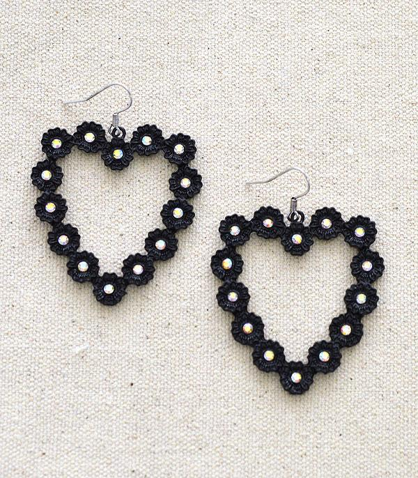 New Arrival :: Wholesale Flower Heart Rhinestone Earrings