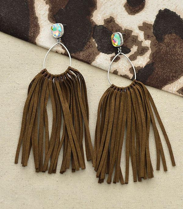 New Arrival :: Wholesale Western Leather Tassel Stone Earrings