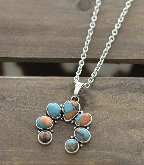 New Arrival :: Wholesale Squash Blossom Stone Pendant Necklace