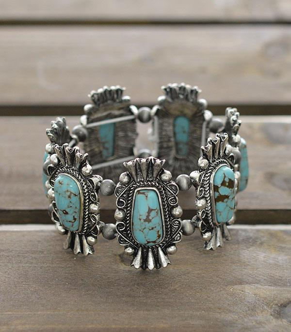 <font color=Turquoise>TURQUOISE JEWELRY</font> :: Wholesale Western Turquoise Stretch Bracelet