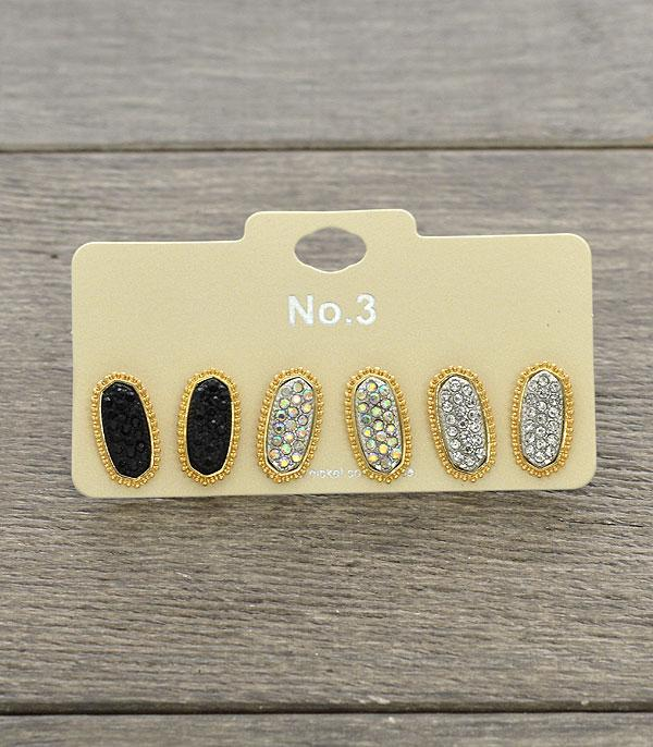 New Arrival :: Wholesale 3PC Set Rhinestone Oval Post Earrings