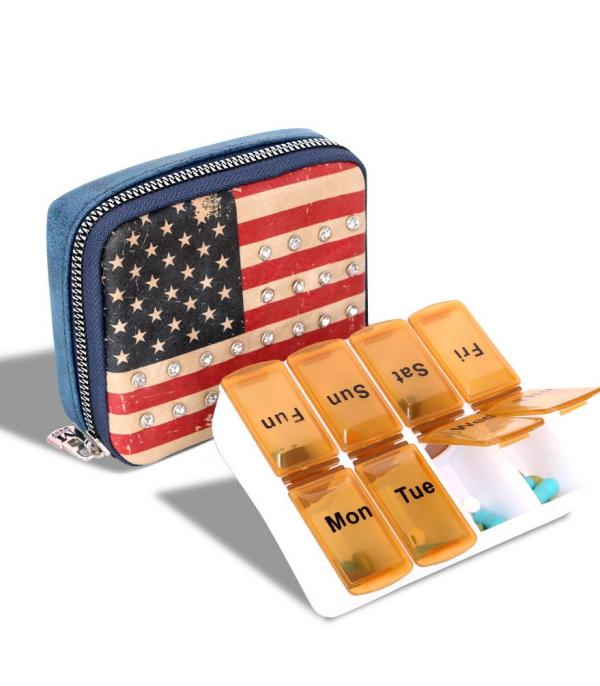 New Arrival :: Wholesale Western US Flag Pill Box Organizer