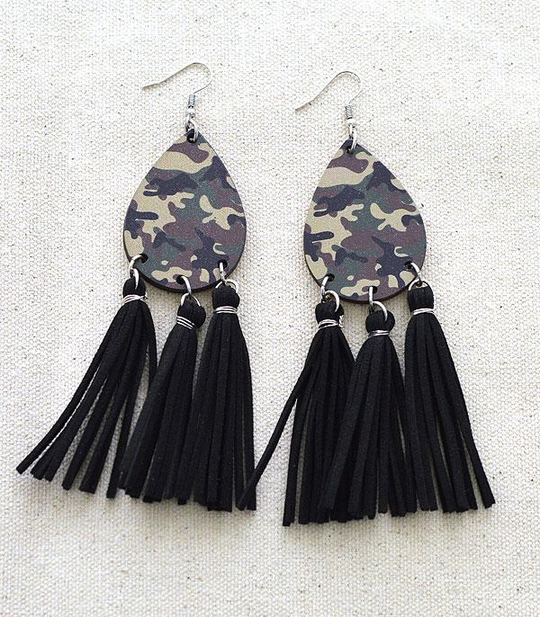 New Arrival :: Wholesale Tipi Camo Teardrop Tassel Earrings