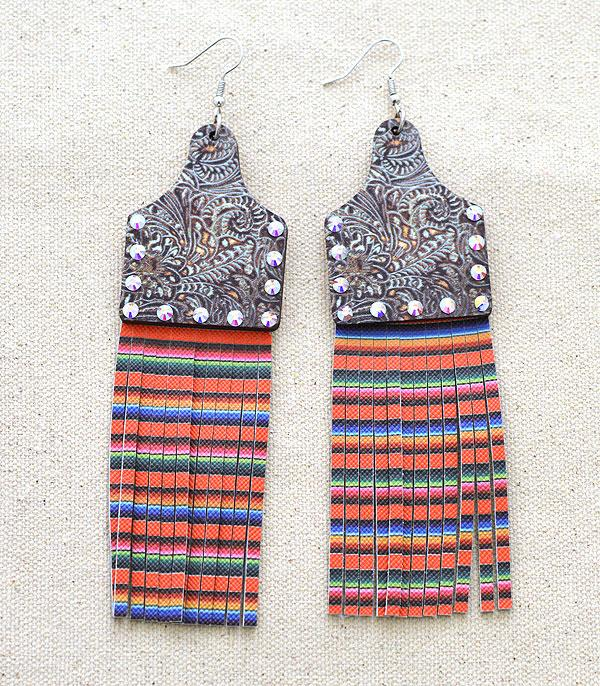 New Arrival :: Wholesale Cattle Tag Wood Tassel Earrings