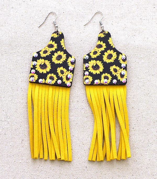 New Arrival :: Wholesale Tipi Cattle Tag Wood Tassel Earrings