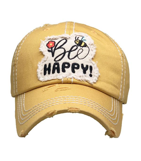 New Arrival :: Wholesale Bee Happy Vintage Ballcap