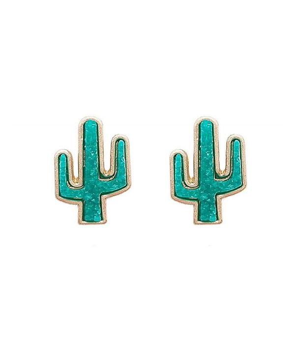 New Arrival :: Wholesale Cactus Druzy Stud Earrings