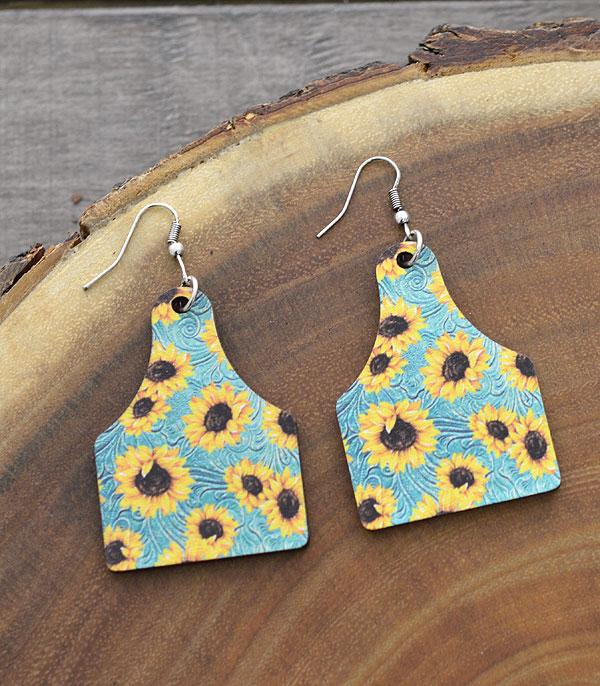New Arrival :: Wholesale Tipi Sunflower Cow Tag Earrings