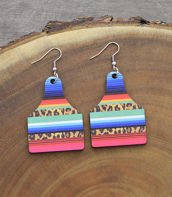 New Arrival :: Wholesale Tipi Serape Cow Tag Wooden Earrings
