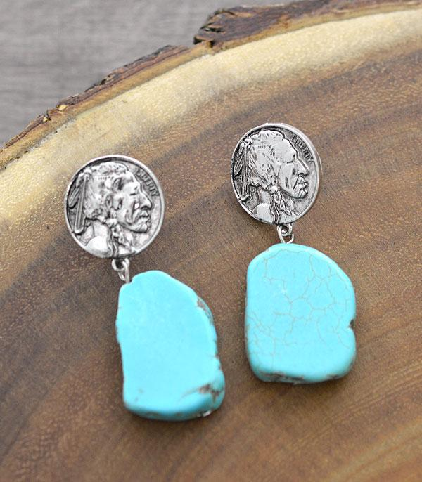New Arrival :: Wholesale Indian Coin Turquoise Dangle Earrings