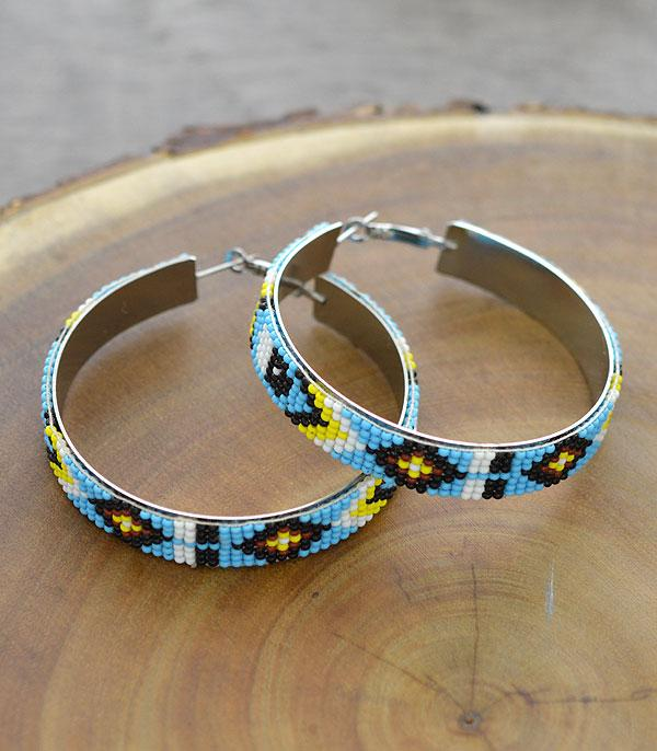 New Arrival :: Wholesale Navajo Seed Bead Hoop Earrings