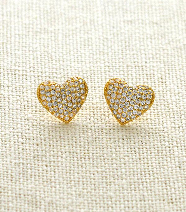 New Arrival :: Wholesale Rhinestone Pave Heart Stud Earrings