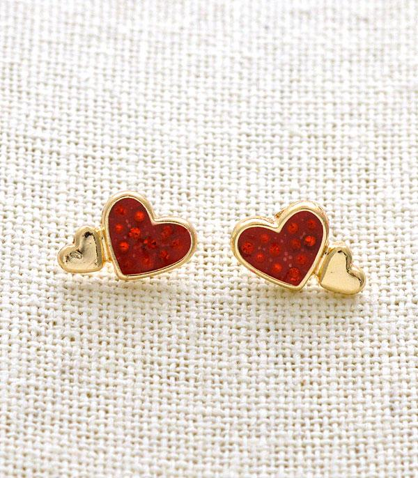 New Arrival :: Wholesale Rhinestone Double Heart Stud Earrings