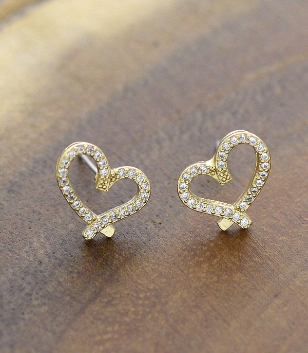 New Arrival :: Wholesale Rhinestone Mini Heart Stud Earrings
